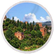 Towers Of The Alhambra Round Beach Towel