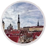 Towers Of The Tallinn Old Town Round Beach Towel