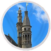 Towers Of The Town Hall In Bruges Belgium Round Beach Towel