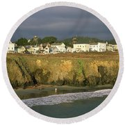 Town At The Seaside, Mendocino Round Beach Towel