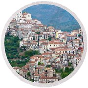Town Clinging To A Hill Top In Southern Italy Round Beach Towel