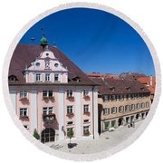 Town Hall And St. Martin Cathedral Round Beach Towel