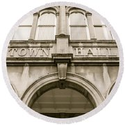 Town Hall, Arch And Windows Round Beach Towel