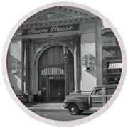 Town House And Woody Station Wagon, Alvarado Street - Monterey   Round Beach Towel