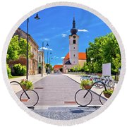 Town Of Bicycles Koprivnica Street View Round Beach Towel