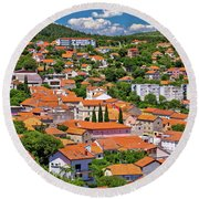 Town Of Drnis And Dalmatian Inland Panorama Round Beach Towel