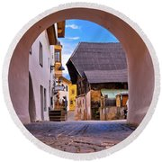 Town Of Kastelruth In Alps Street View Round Beach Towel