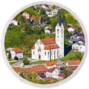 Town Of Krapina Church Vertical View Round Beach Towel
