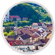 Town Of Krapina Rooftops View Round Beach Towel