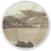 Town Of Lugano, Switzerland, 1781  Round Beach Towel