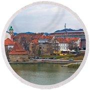 Town Of Maribor Riverfront Panoramic  Round Beach Towel