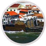 Town Of Porto Pim Round Beach Towel