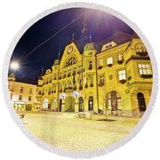 Town Of Ptuj Historic Main Square Evening View Round Beach Towel