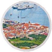 Town Of Seget Aerial View Round Beach Towel