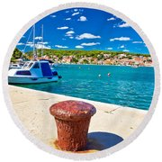 Town Of Tisno Harbor And Waterfront Round Beach Towel
