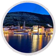 Town Of Vis Waterfront Evening Panorama Round Beach Towel