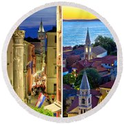 Town Of Zadar Evening And Sunset Travel Collage Round Beach Towel