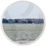 Town On The Water Round Beach Towel