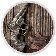 Toy Gun And Ranger Badge Round Beach Towel