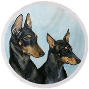 Toy Manchester Terriers Round Beach Towel