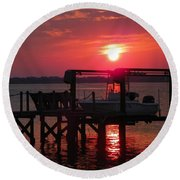 Toy On Hold Round Beach Towel by Karen Wiles