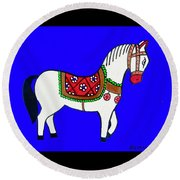 Toy Wooden Horse 1 Round Beach Towel