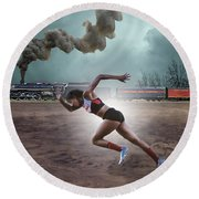 Track And Field Round Beach Towel