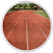Track And Field Of Depth One Round Beach Towel
