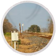 Track Crossing  Round Beach Towel