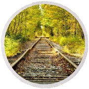 Track To Nowhere Round Beach Towel by Greg Fortier