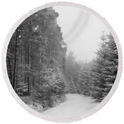 Track, Winter, Slaley Woods Round Beach Towel