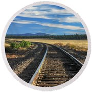 Tracks At Crater Lake Round Beach Towel