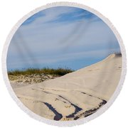 Tracks In The Sand Dunes Round Beach Towel