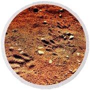 Tracks On Mars Round Beach Towel