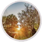 Tractor At Sunset Round Beach Towel