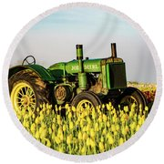 Tractor In A Field Round Beach Towel