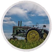 Tractor In Field Round Beach Towel