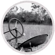 Tractor In Long Grass Round Beach Towel