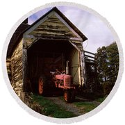 Tractor Parked Inside Of A Round Barn Round Beach Towel