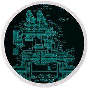 Tractor Patent Drawing 7f Round Beach Towel