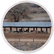 Tractor Port On The Ranch Round Beach Towel