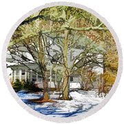 Traditional American Home In Winter Round Beach Towel by Lanjee Chee