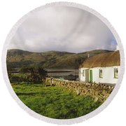 Traditional Cottage, Near Lough Rus Round Beach Towel