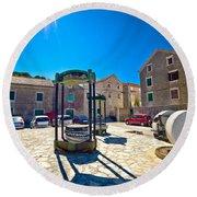 Traditional Dalmatian Town Of Tisno Square Round Beach Towel