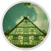 Traditional House Roth Germany Cross Process Holga Photography Round Beach Towel