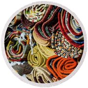 Traditional Moroccan Rugs Round Beach Towel