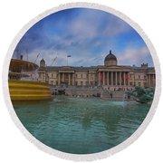 Trafalgar Square Fountain London 12 Round Beach Towel