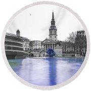 Trafalgar Square Fountain London 3d Round Beach Towel