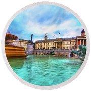 Trafalgar Square Fountain London 5 Art Round Beach Towel