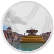 Trafalgar Square Fountain London 9 Round Beach Towel